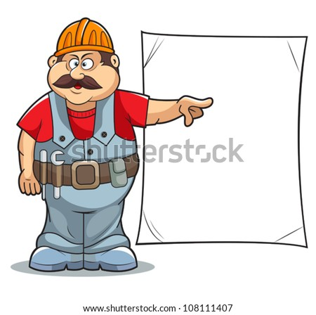 Illustration of Catoon Builder worker man's with sign. - stock vector