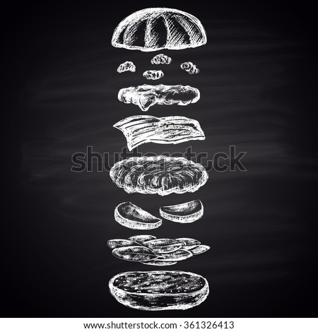 Illustration of chalk drawn apple burger with turkey cutlet. Burger menu collection. Fast food theme. - stock vector