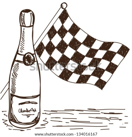 Illustration of checkered flag and champagne, doodle style drawing - stock vector