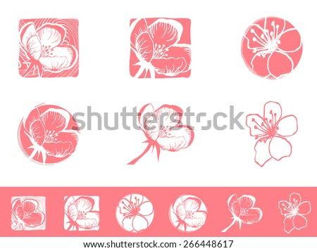 Illustration of Cherry Blossom Logo Design Collection - stock vector