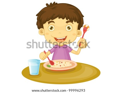 Illustration of child eating at a table - stock vector