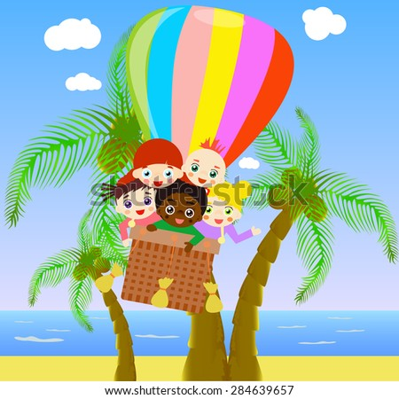 Illustration of children flying with air balloon above beach. - stock vector