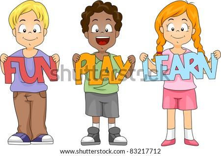 Illustration of Children Holding Cutouts - stock vector