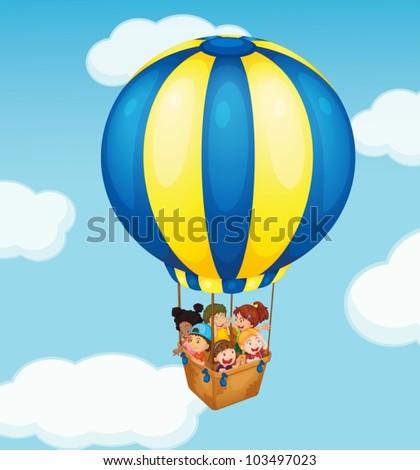 Illustration of children in a balloon - stock vector