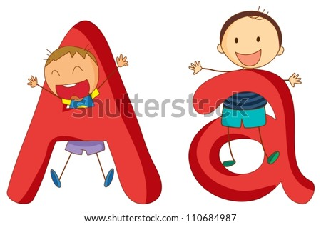 Illustration of children in a letter of alphabet - stock vector