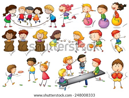 Illustration of children playing and doing activities - stock vector