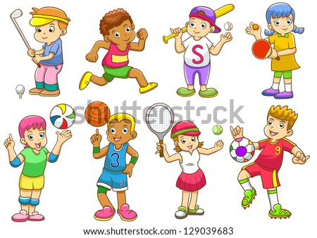 illustration of children playing different sports.  EPS8 File - no Gradients, no Effects, no mesh, no Transparencies. - stock vector