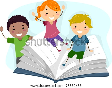 Illustration of Children Playing with a Giant Book - stock vector