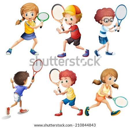Illustration of children with different positions of playing tennis - stock vector