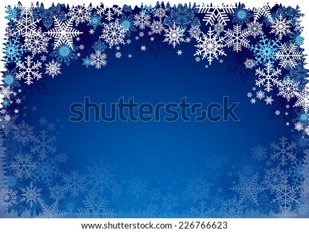 Illustration of Christmas background with blue and white snowflakes in various styles  - stock vector