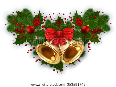 Illustration of Christmas decoration with bells, red bow, fir tree branches, mistletoe and balls isolated - stock vector