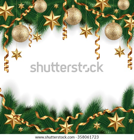 Illustration of Christmas decoration with fir tree branches, gold balls, stars and paper streamers isolated - stock vector