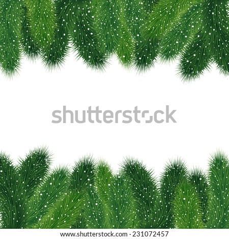 Illustration of Christmas fir tree branches covered with snow isolated  - stock vector