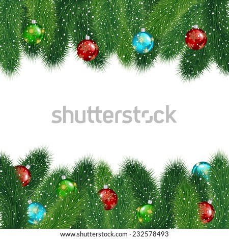 Illustration of Christmas fir tree branches with colorful balls covered with snow isolated  - stock vector