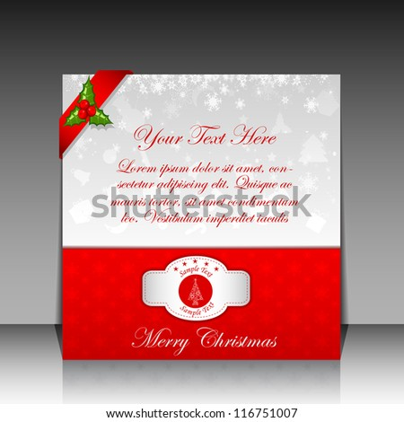 Illustration of Christmas Greetings Card with ribbon - stock vector