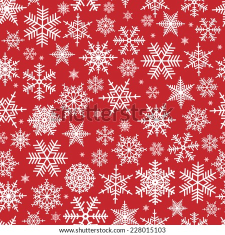Illustration of Christmas pattern with white snowflakes on red background  - stock vector