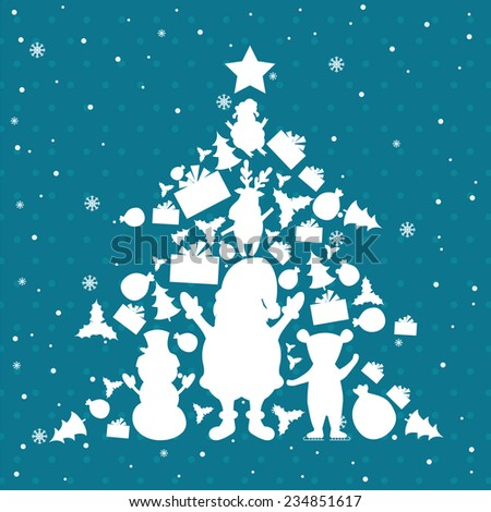 Illustration of christmas tree in christmas objects. Vector - stock vector