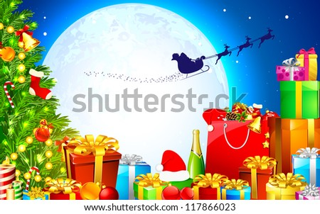 illustration of christmas tree with colorful gift box - stock vector