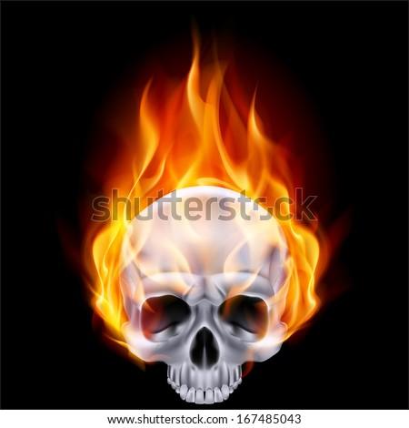 Illustration of chrome fiery skull on black background. - stock vector