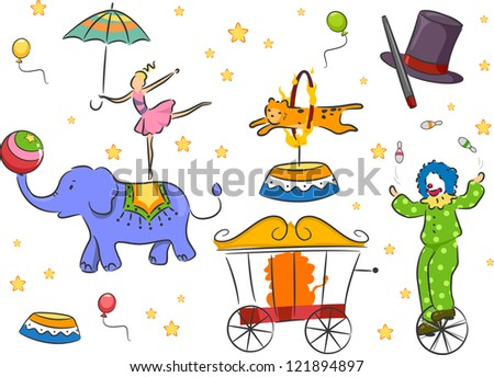 Illustration of Circus Design Elements - stock vector