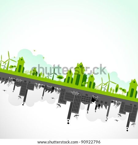 illustration of cityscape showing sustainability of earth - stock vector