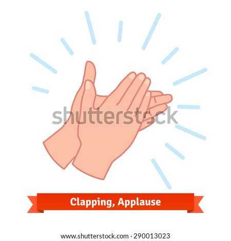 Illustration of clapping applauding hands. Flat vector icon. - stock vector