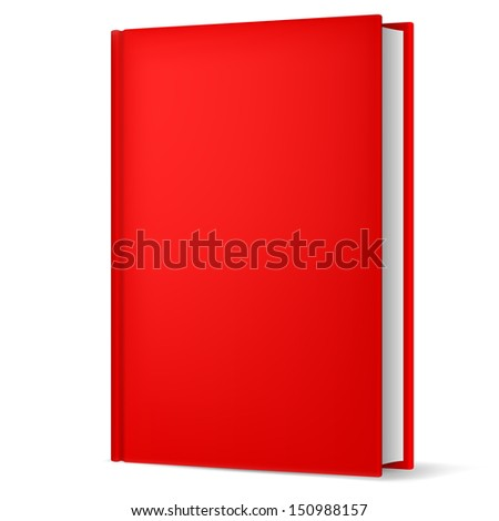 Illustration of classic red book in front vertical view isolated on white background. - stock vector