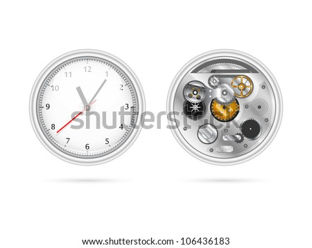 Illustration of clock with two sides view - stock vector