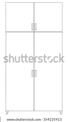 Illustration of closed cabinet on white background, vector - stock vector