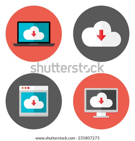 Illustration of Cloud Services Flat Icons Set with laptop and desktop - stock vector