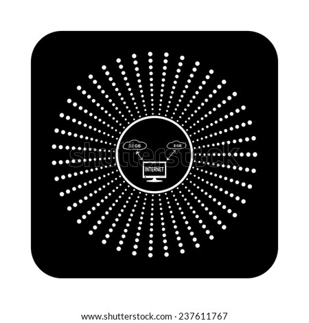 illustration of cloud storage on a black background, vector - stock vector