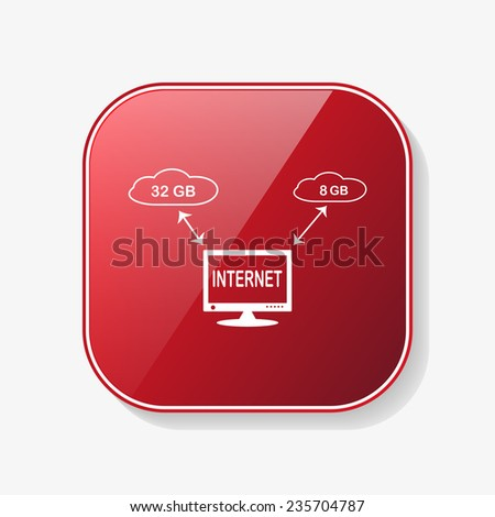 illustration of cloud storage red glossy button, vector - stock vector