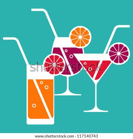 Illustration of cocktail glasses - stock vector