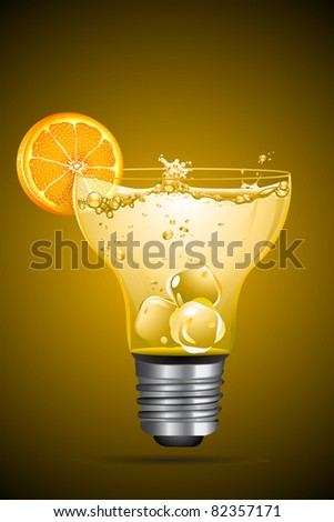 illustration of cocktail with orange slice in bulb shape glass - stock vector