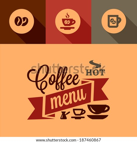 Illustration of Coffee Menu in Flat Design Style. - stock vector
