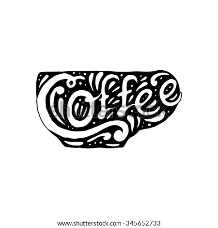 Illustration Of Coffee Swirl And Typography With Black Color - stock vector