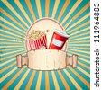 illustration of cold drink and pop corn on sunburst vintage background - stock vector
