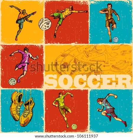 illustration of collage of different move of soccer - stock vector