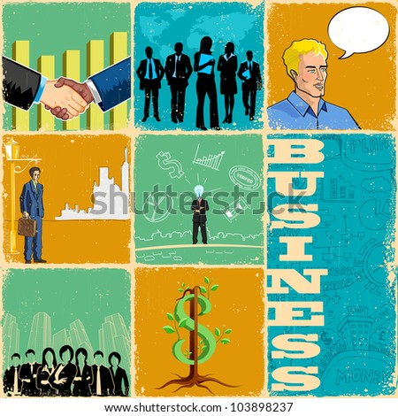 illustration of collage with different business concept - stock vector