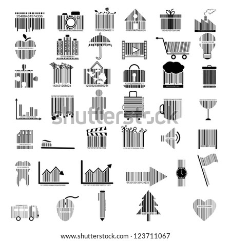 illustration of collection of barcode design - stock vector