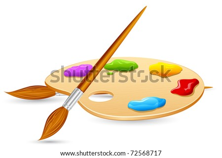 illustration of Color Brush and Color Pallet on isolated background - stock vector