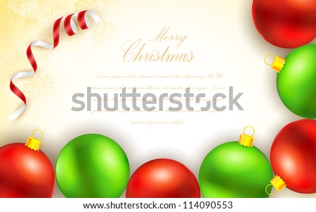 illustration of colorful christmas bauble in abstract background - stock vector