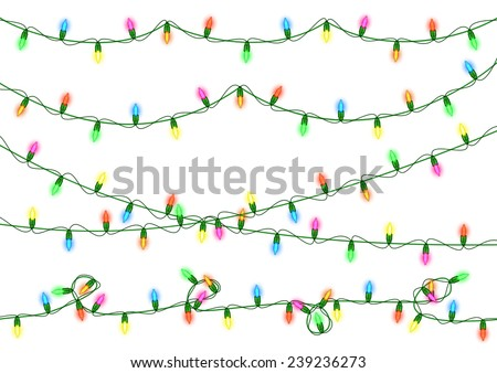 Illustration of colorful Christmas lights collection isolated  - stock vector