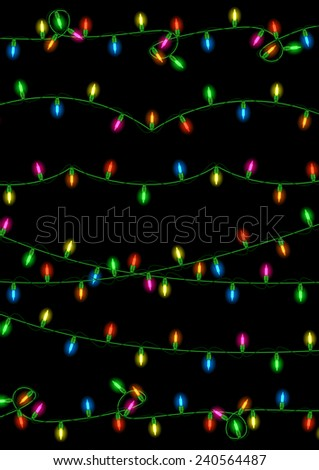 Illustration of colorful Christmas lights collection on black background  - stock vector