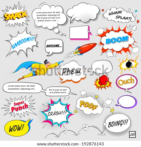 illustration of colorful comic speech bubble in vector - stock vector