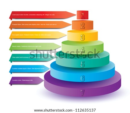 Illustration of colorful elements for presentation in pyramid format - stock vector