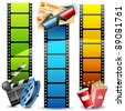 illustration of colorful film reel with pop corn,reel and clapper board - stock vector