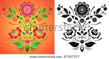 Illustration of colorful flower on orange background. Illustration on  black and white flowers isolated on white. - stock vector