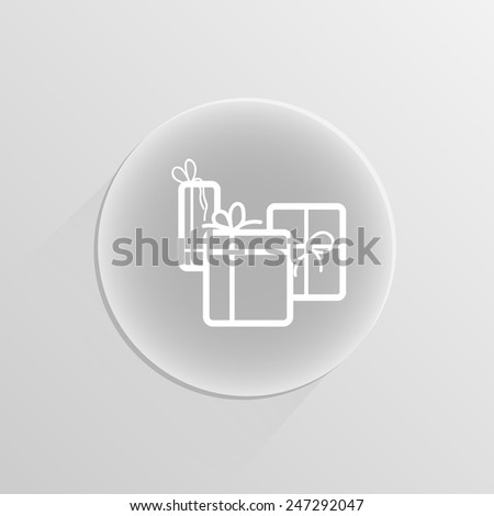 illustration of colorful gift box on a white button with shadow - stock vector