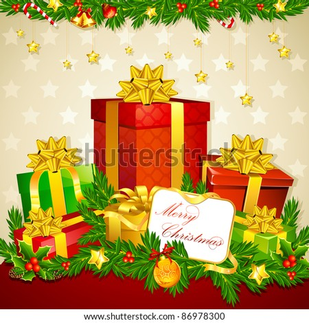 illustration of colorful gift box with christmas decoration - stock vector
